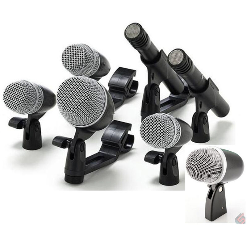 cisno 7 piece drum mic microphone kit for bass tom snare overhead w mounts ebay. Black Bedroom Furniture Sets. Home Design Ideas