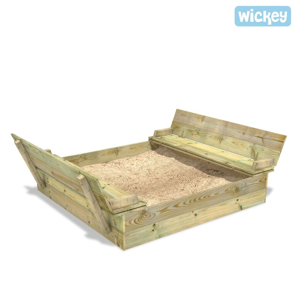 wickey flip flippey sandkasten mit deckel sandkiste sitzbank buddelkiste sandbox ebay. Black Bedroom Furniture Sets. Home Design Ideas