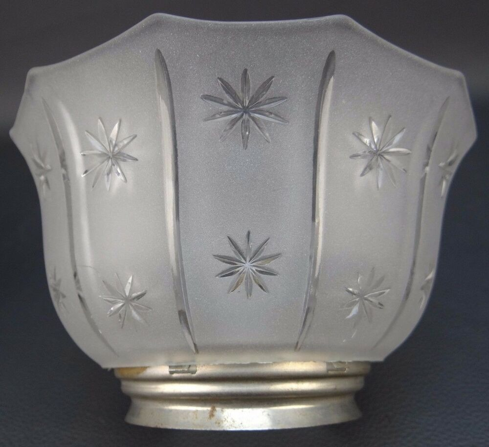 Etched Metal Lamp Shade: Vintage Antique Frosted / Etched Glass & Metal Base Oil