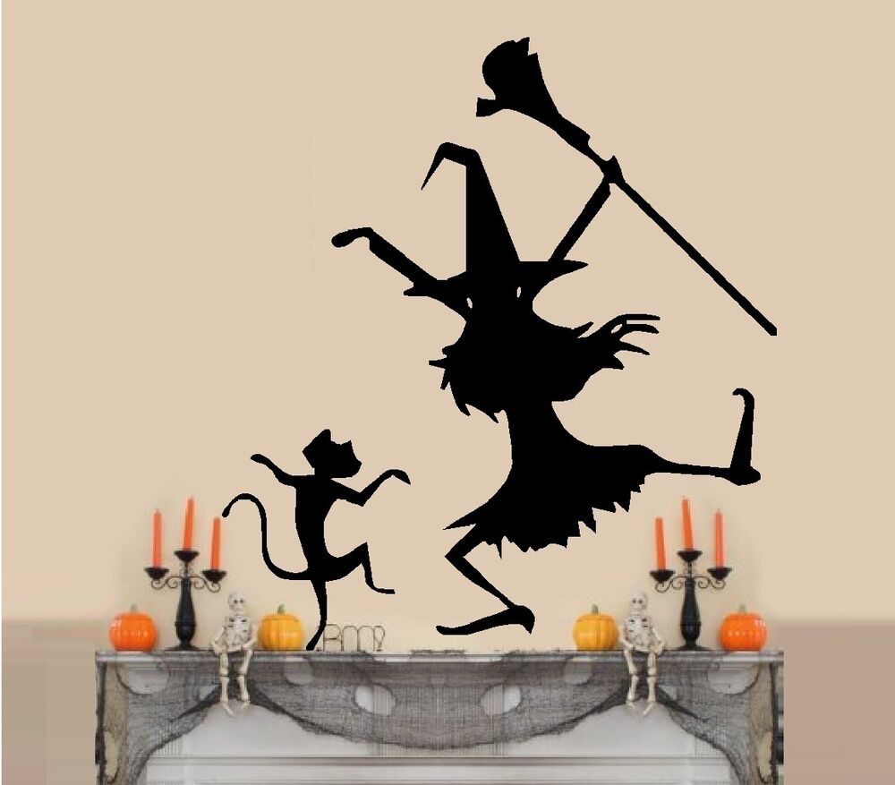 Dancing Witch And Cat 2 Wall Decal Ebay