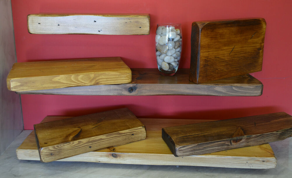 Rustic Solid Wood Floating Shelf Shelves Chunky Reclaimed Many Sizes ...