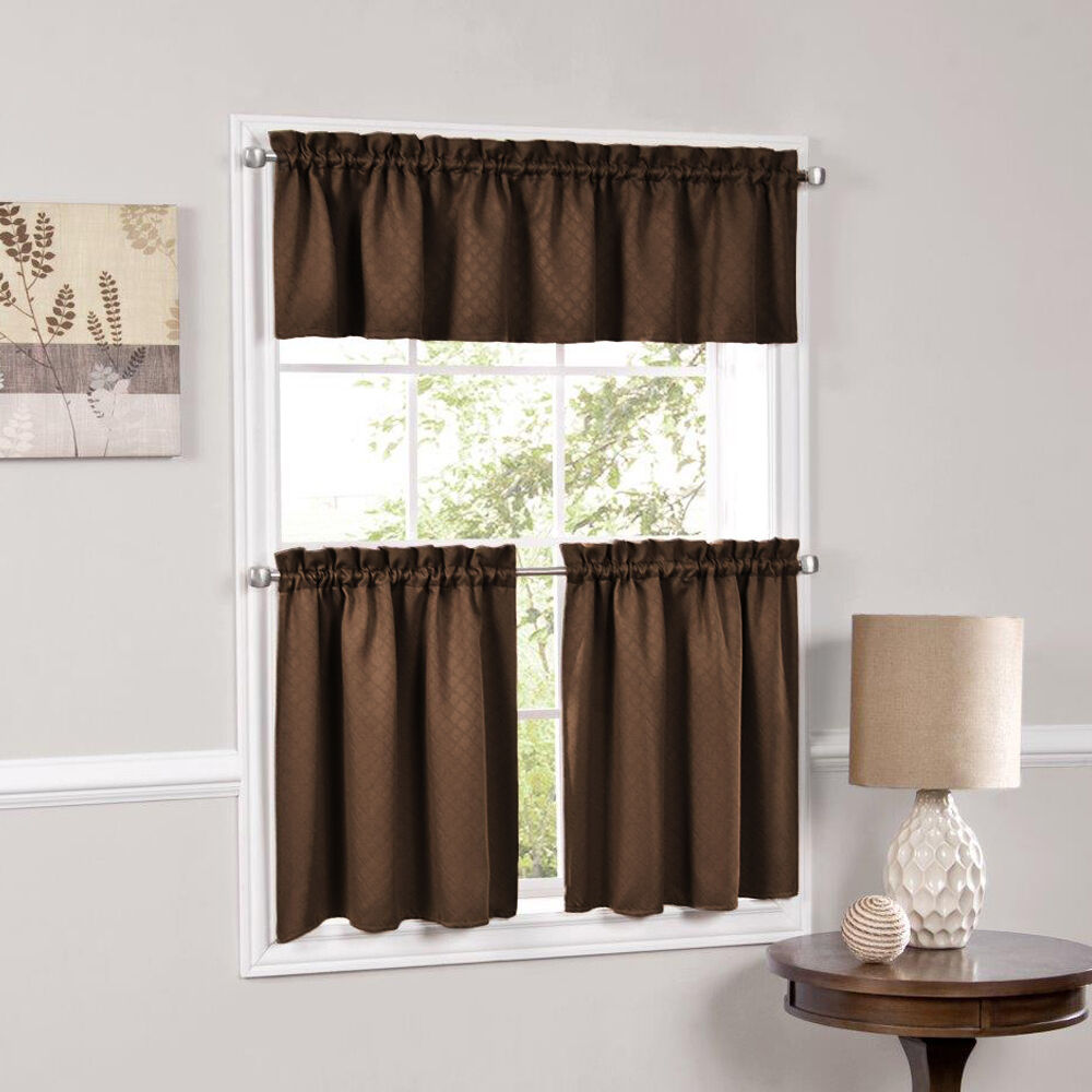 Facets Brown Room Darkening Blackout Insulated Kitchen Curtains Tiers Valances Ebay