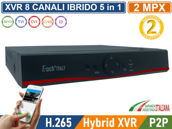 XVR DVR 6in1 AHD CVI TVI CVBS IP 8 CANALI UTC FULL HD 1080N P2P CLOUD HDMI WIFI