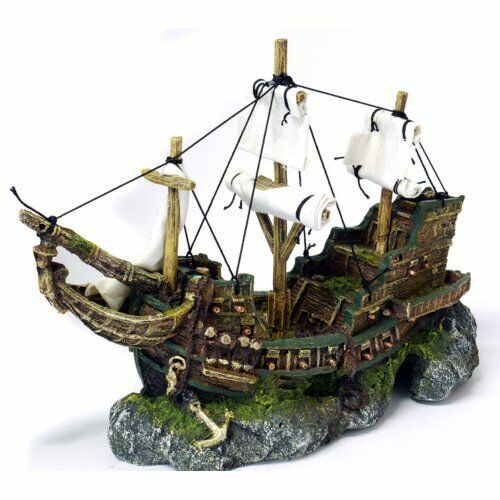 Classic aquarium ornament galleon shipwreck with sails for Aquarium decoration shipwreck
