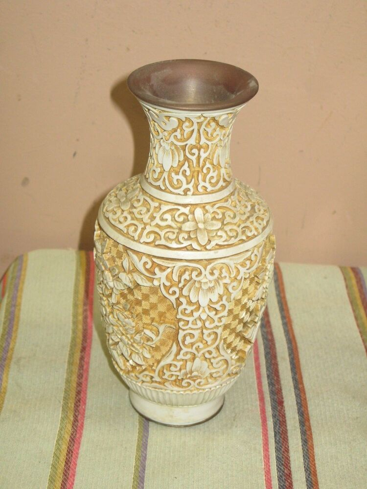 Vintage White Carved Chinese Cinnabar 8 Quot Vase Ebay