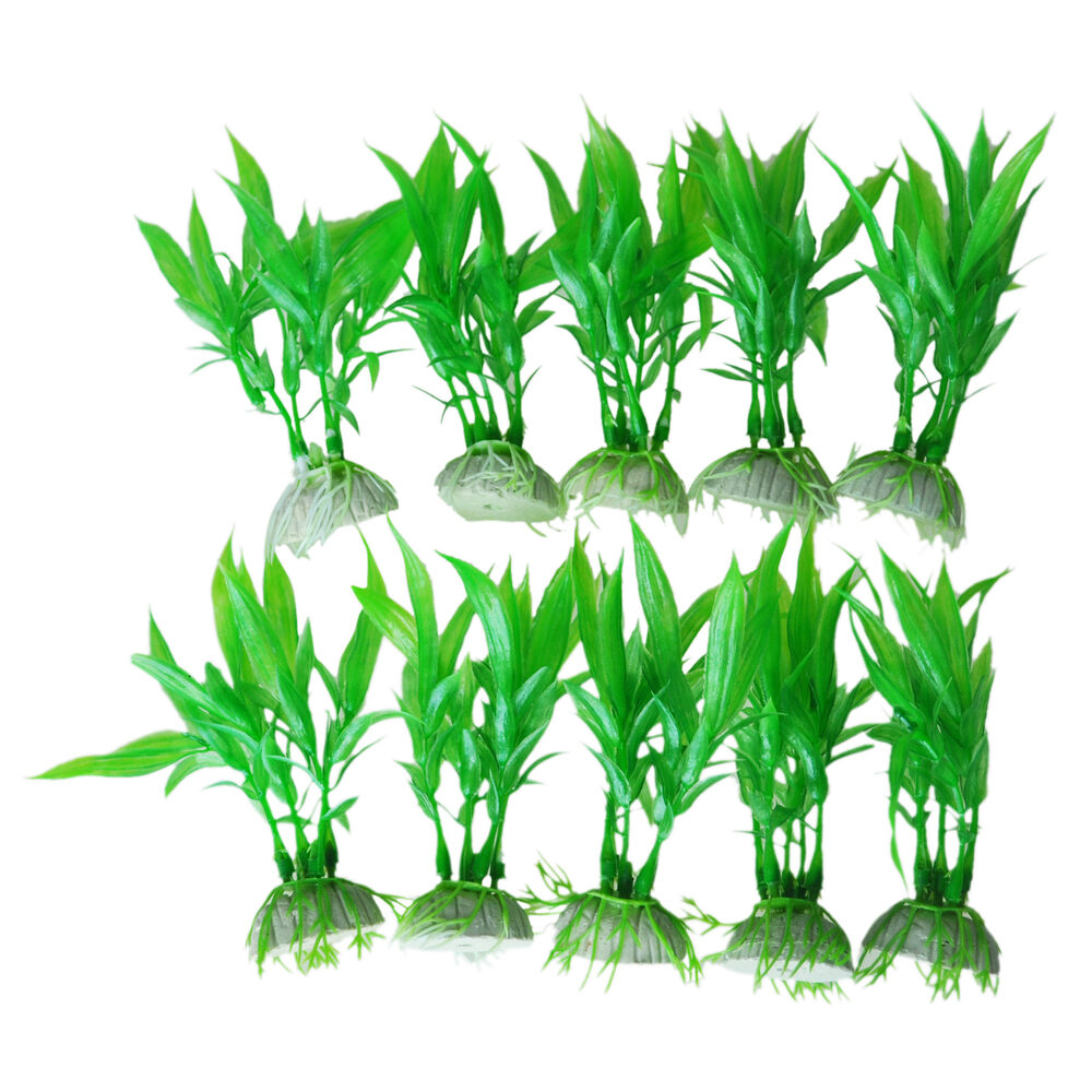 10 pcs artificial green plants aquarium tank fish vivid for Artificial plants for decoration