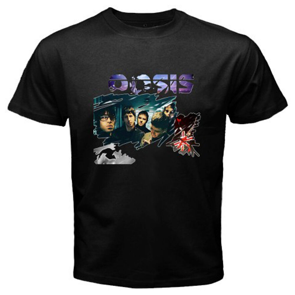 new oasis british rock band noel liam gallagher mens black t shirt size s to 3xl ebay. Black Bedroom Furniture Sets. Home Design Ideas