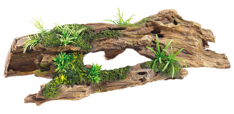 Driftwood log with artificial plants aquarium terrarium for Aquarium wood decoration