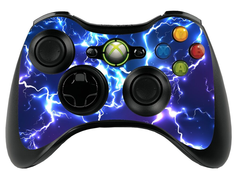 blue electric xbox 360 remote controller gamepad skin. Black Bedroom Furniture Sets. Home Design Ideas