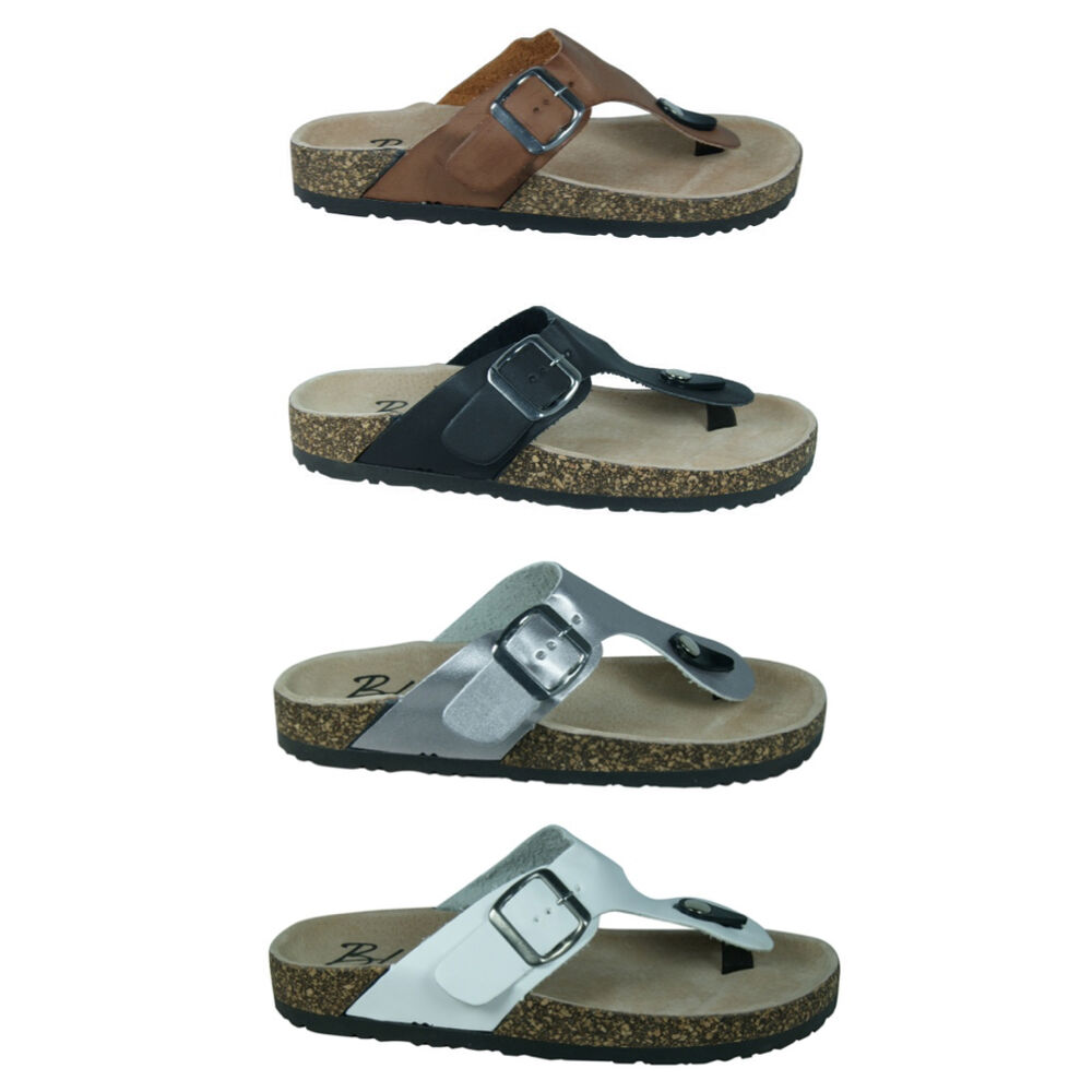 New Women Thong Flat Form Cork Footbed T Strap Buckled
