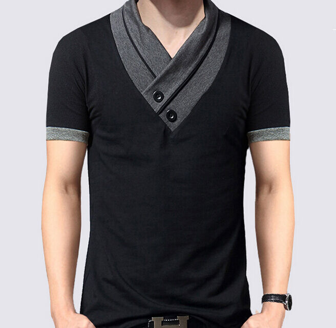 New fashion mens short sleeve slim fit v neck t shirt for Tahari t shirt mens