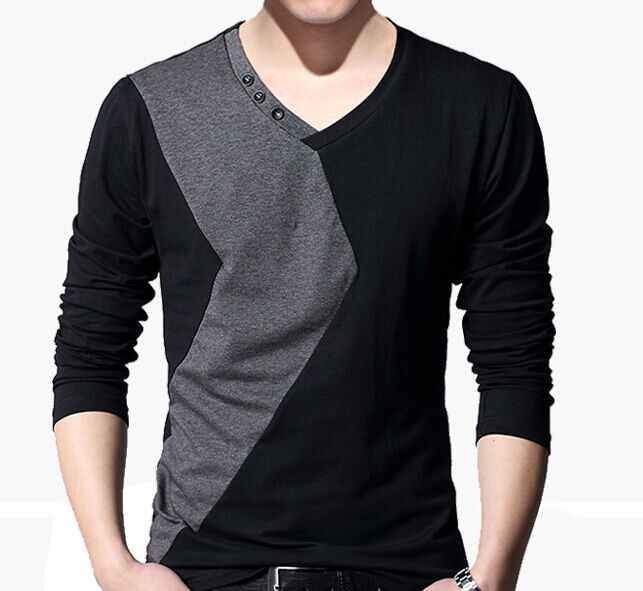 fashion men 39 s v neck long sleeve casual t shirts mens slim