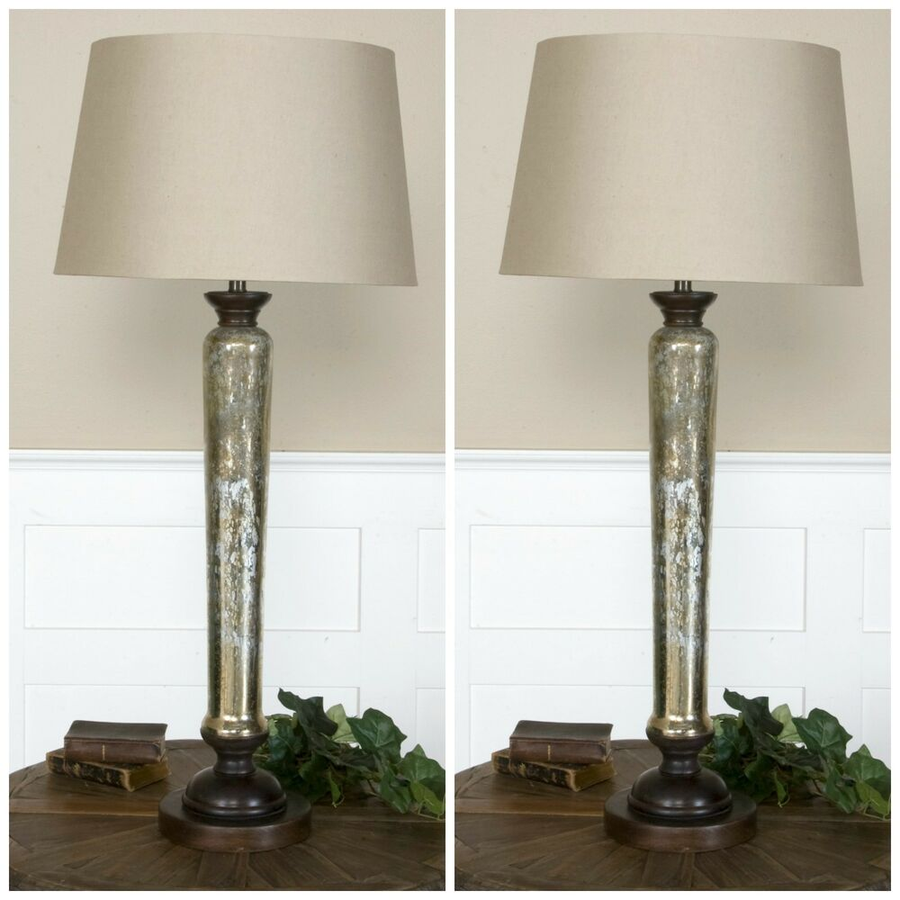 two 35 antiqued mercury glass table lamp aged mango wood. Black Bedroom Furniture Sets. Home Design Ideas