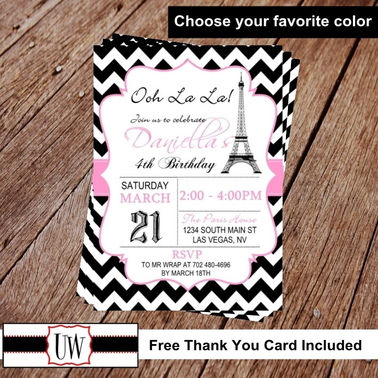 Paris Invitation Eiffel Tower Birthday Printable