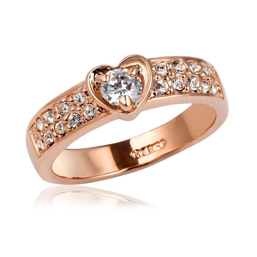 Size 6 8 5 Rose Gold Filled Crystal Love Promise Wedding