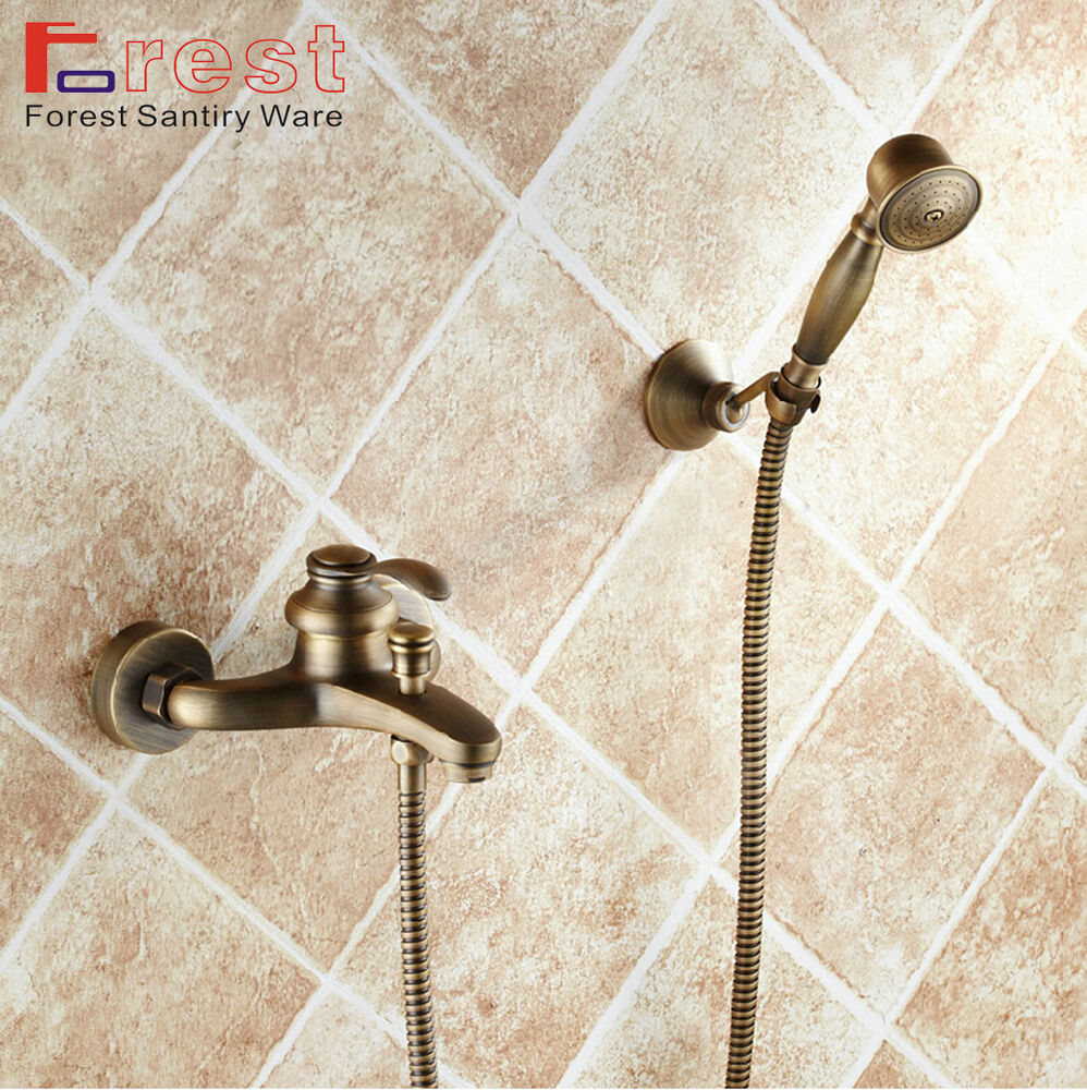 Wall Mount Bathroom Antique Brass Bath Shower Faucet Mixer