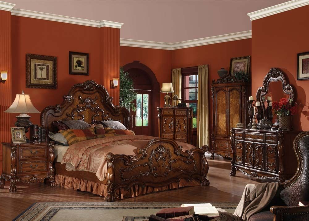 Traditional antique carved wood cherry queen king bed Luxury wood furniture