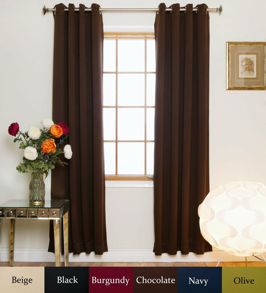 ... Grommet Top Energy Saving Thermal Insulated Blackout Curtain | eBay