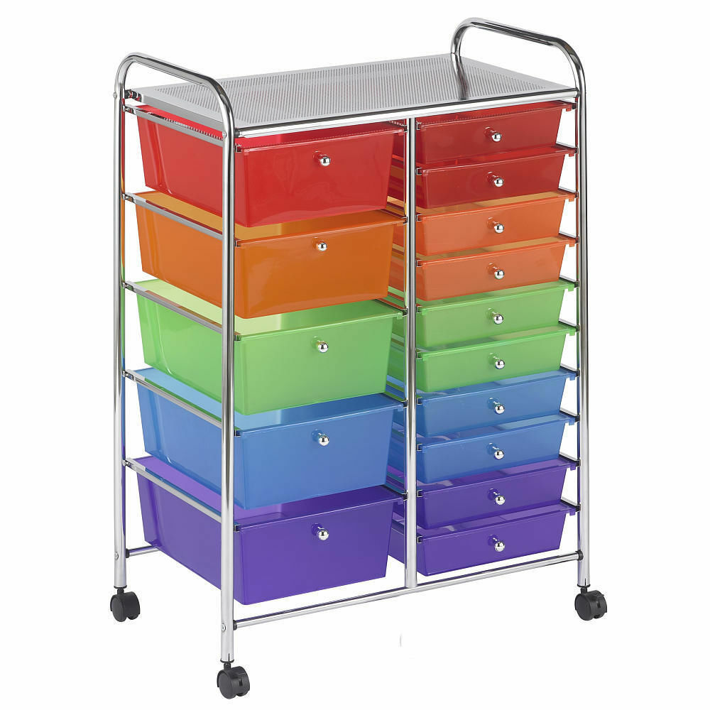 15 drawer mobile toy rolling office organizer toy box. Black Bedroom Furniture Sets. Home Design Ideas