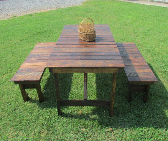 Rustic dining table bench set reclaimed wood kitchen