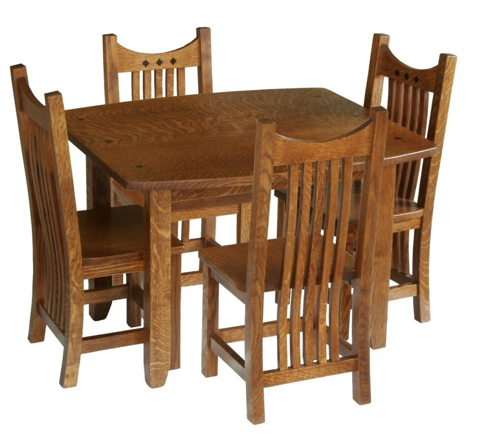 amish mission toddler kids table and chairs set solid wood oak ebay. Black Bedroom Furniture Sets. Home Design Ideas