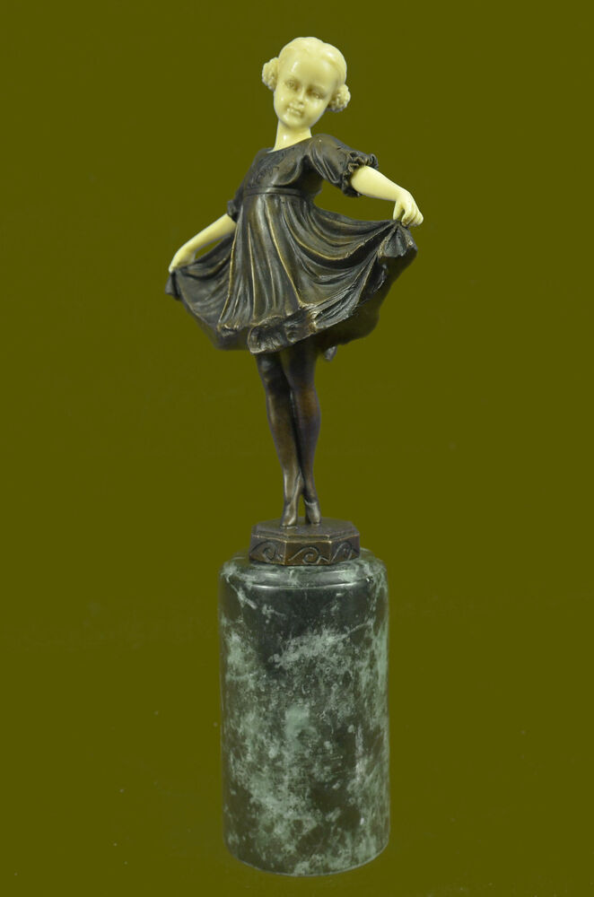 art deco bronze faux bone ballerina girl by f preiss home decoration decor gift ebay. Black Bedroom Furniture Sets. Home Design Ideas