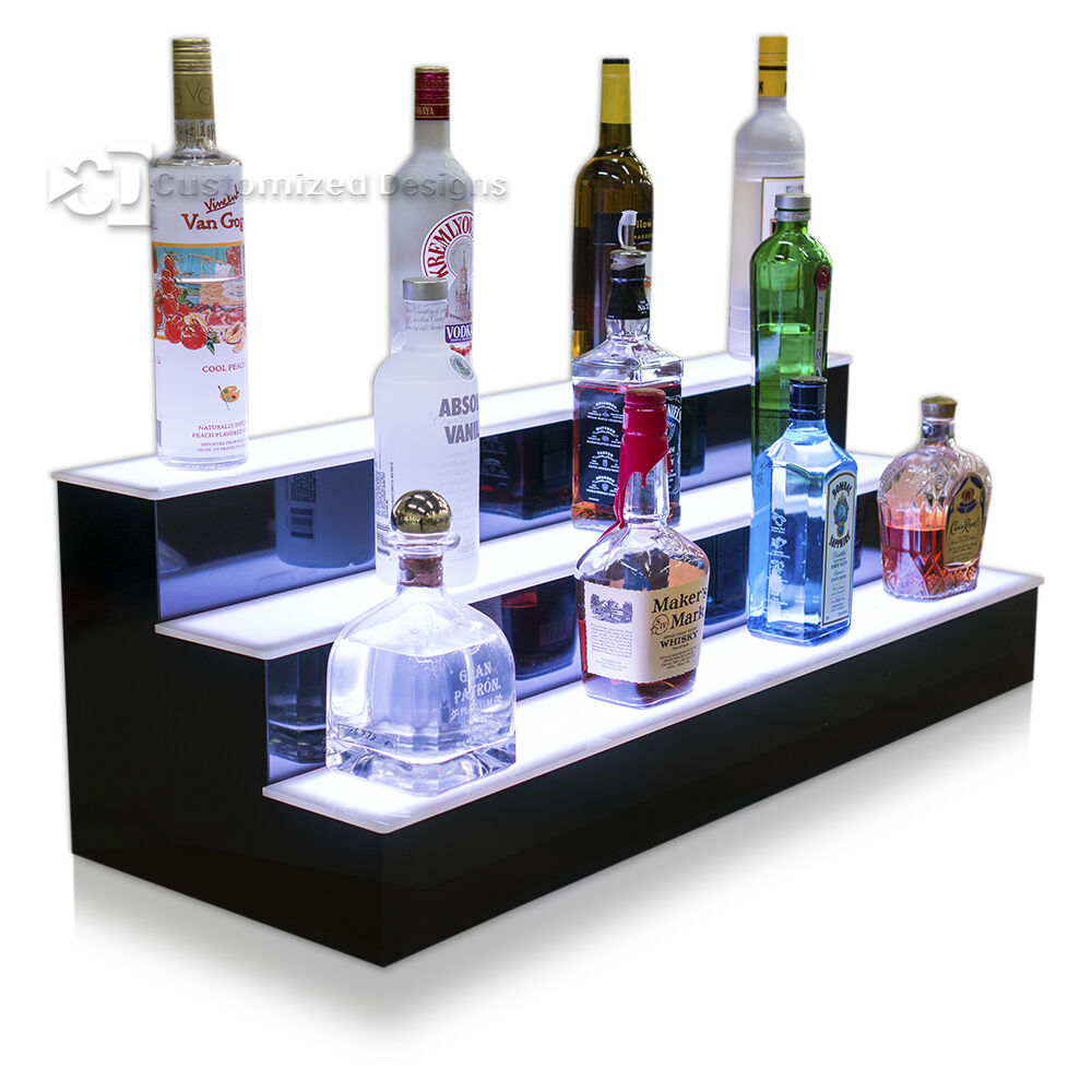38 Quot 3 Step Tier Led Lighted Shelves Illuminated Liquor