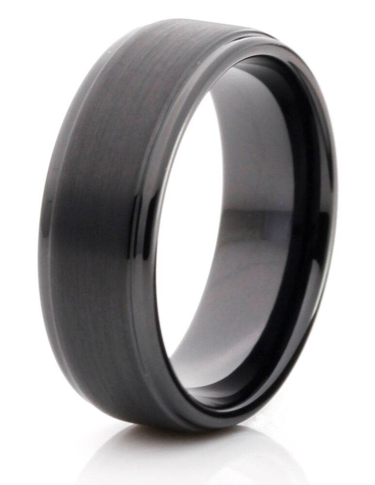 tungsten carbide 8mm comfort fit black band mens wedding ring size 7 14 new ebay. Black Bedroom Furniture Sets. Home Design Ideas