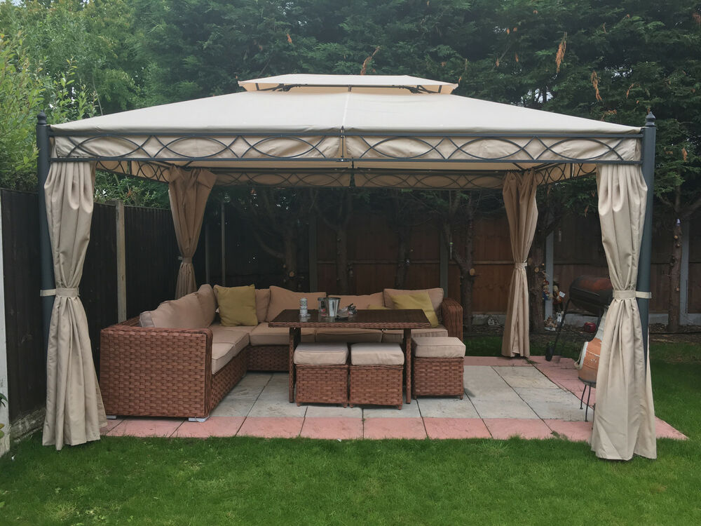 3x4m metal gazebo pavilion awning canopy sun shade shelter for Garden tents