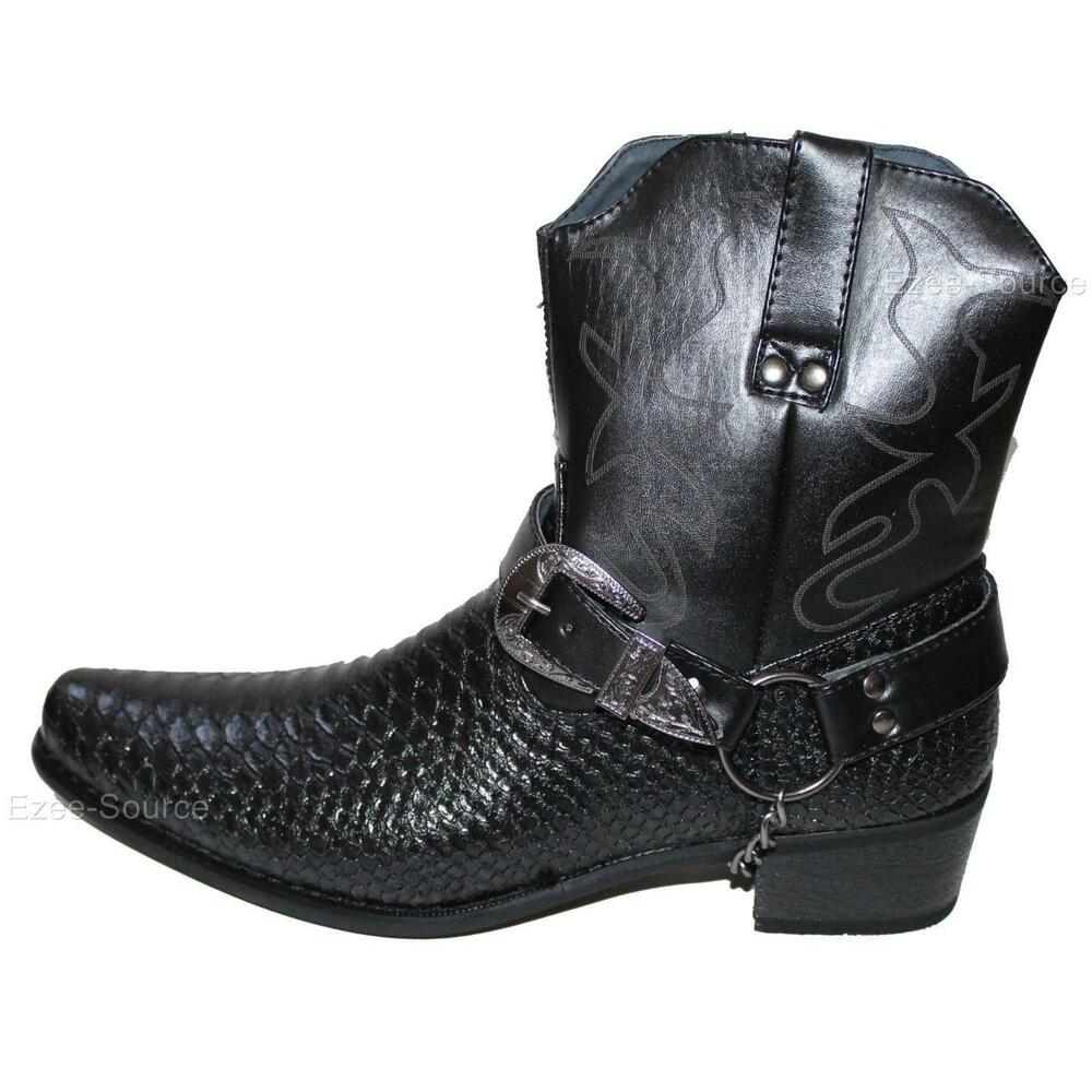 Mens Cowboy Biker Boots Shoes W Alligator Embossed Style