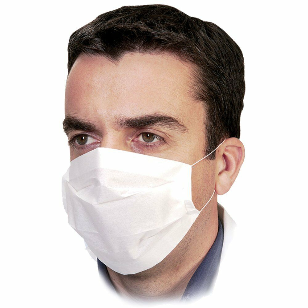 Face Mask: 100 X Disposable Professional 2-Ply Paper Earloop Face