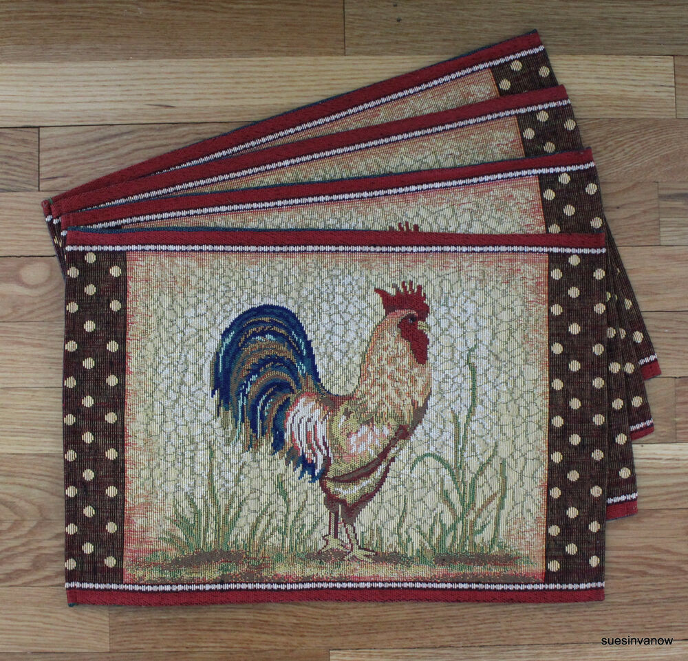 rooster placemats kitchen dining table set of 4 tapestry country farm