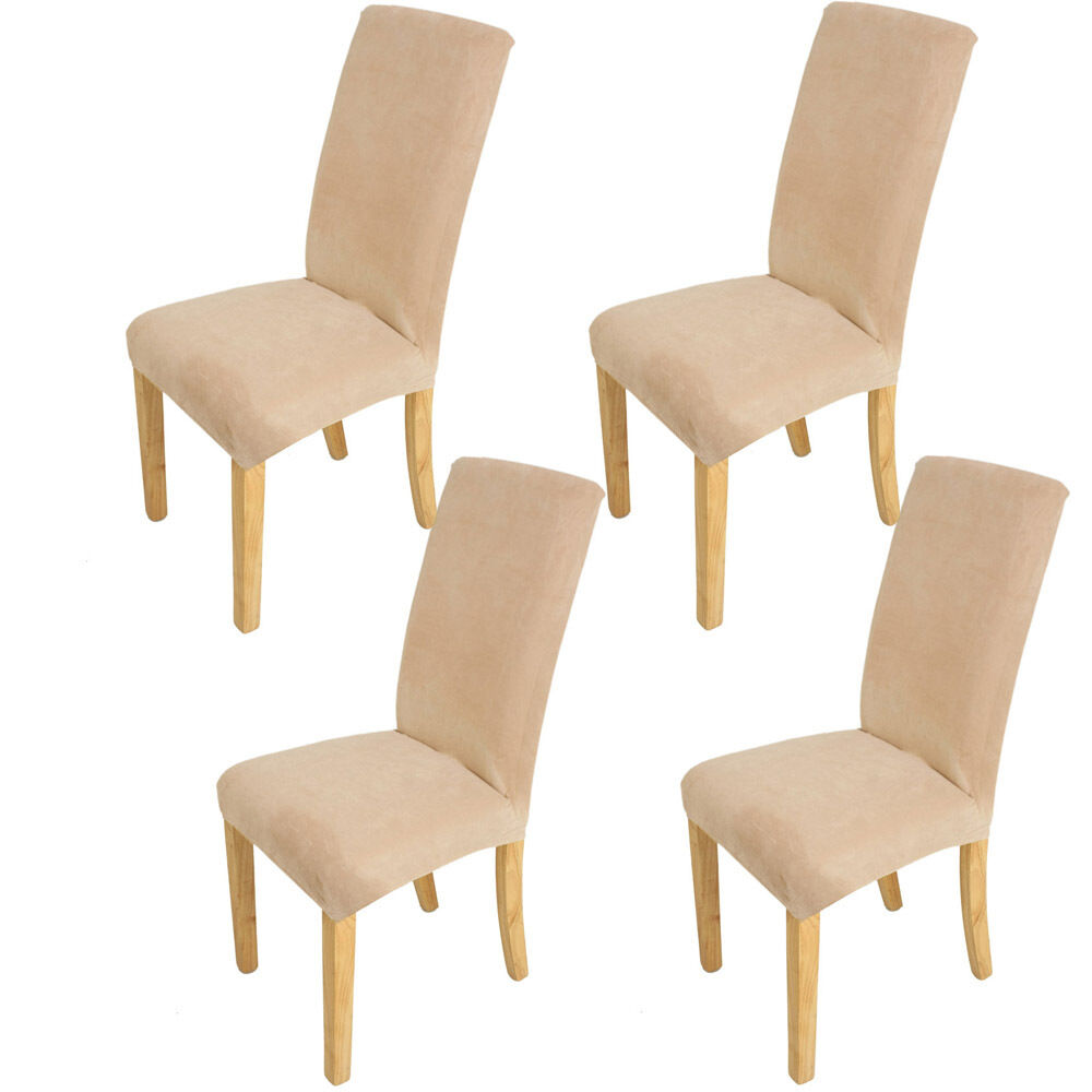 4pcs super fit short dining room chair cover slipcover for Dining room chair covers