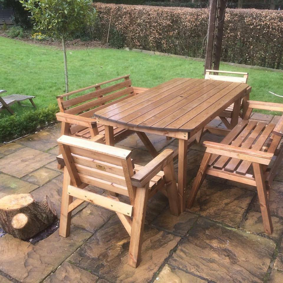 New style solid wood garden patio furniture set 6 ft for Wooden garden furniture