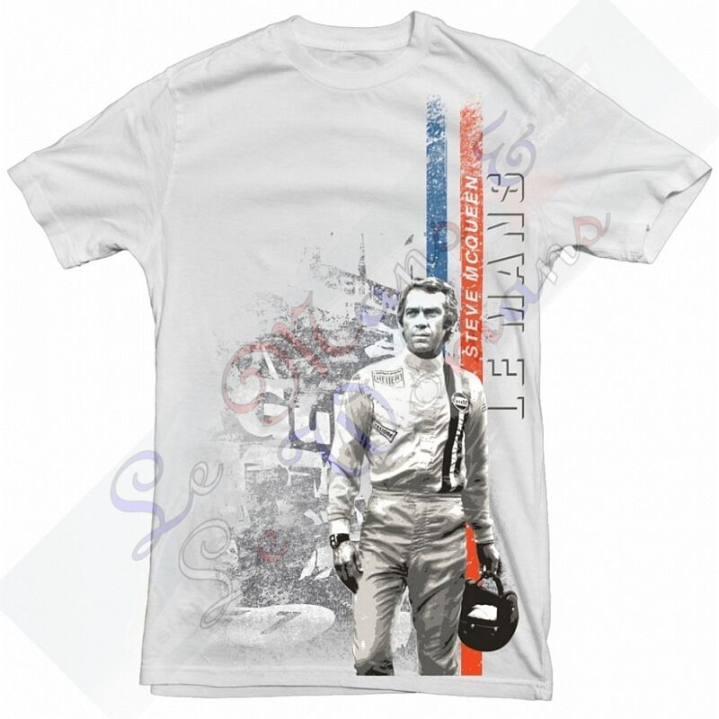 steve mcqueen men 39 s white t shirt le mans movie image ebay. Black Bedroom Furniture Sets. Home Design Ideas