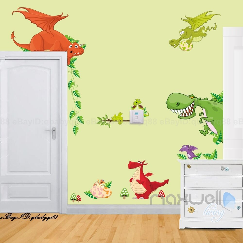 Dragon world wall decals removable stickers kids boy art nursery corner decor ebay for Stickers para dormitorios