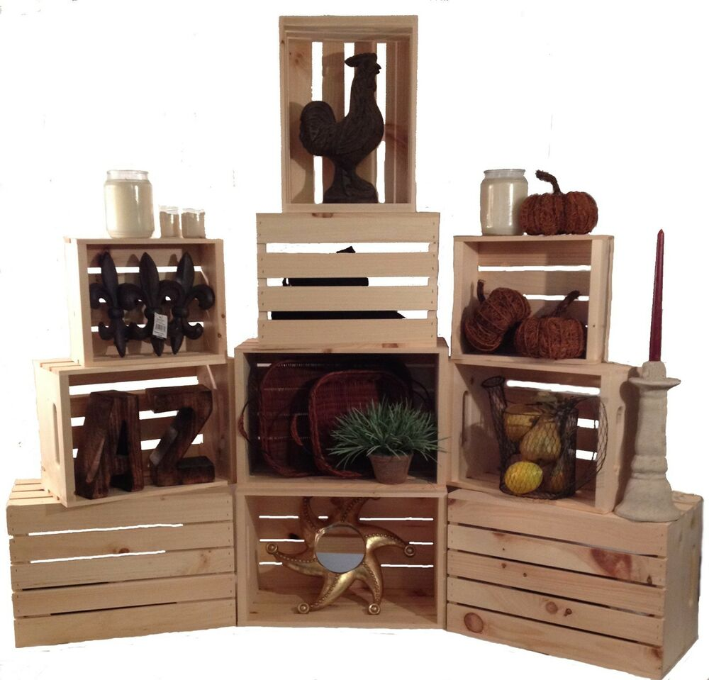 wooden crates as shelves stacking crates set of 3 rustic wood display shelf crates retail books shelves ebay 1309