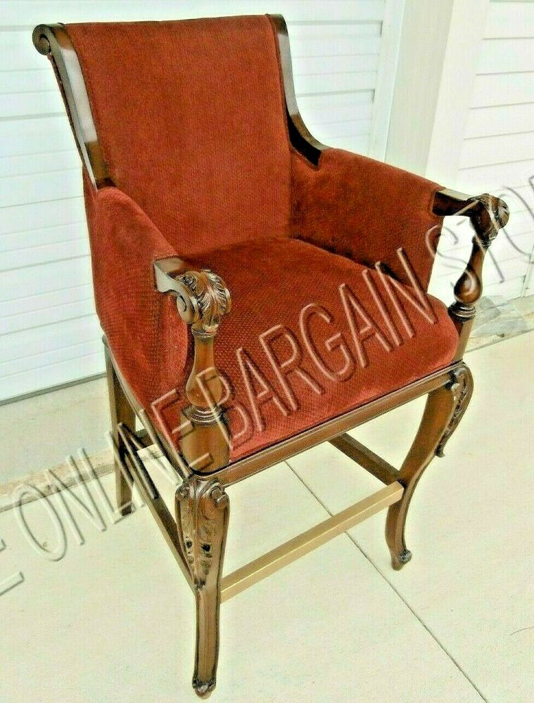 Frontgate Acanthus Bar Counter Chair Red Fabric Bar