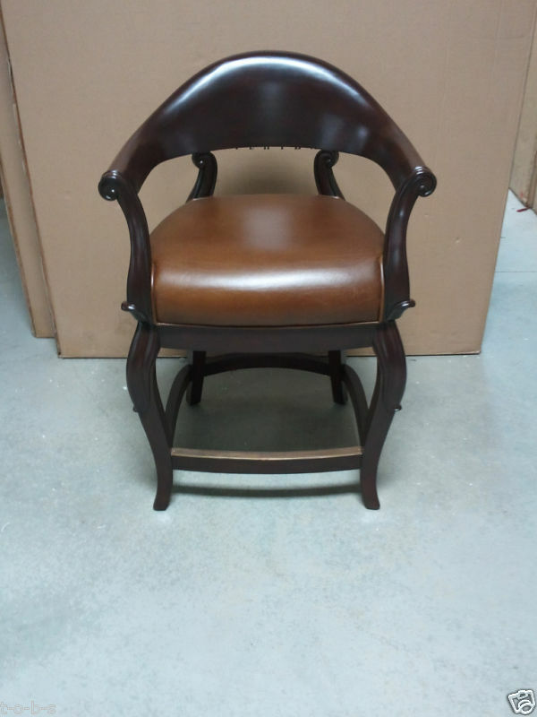 Frontgate Jameson Bar Leather Barstool Counter Stool Wood