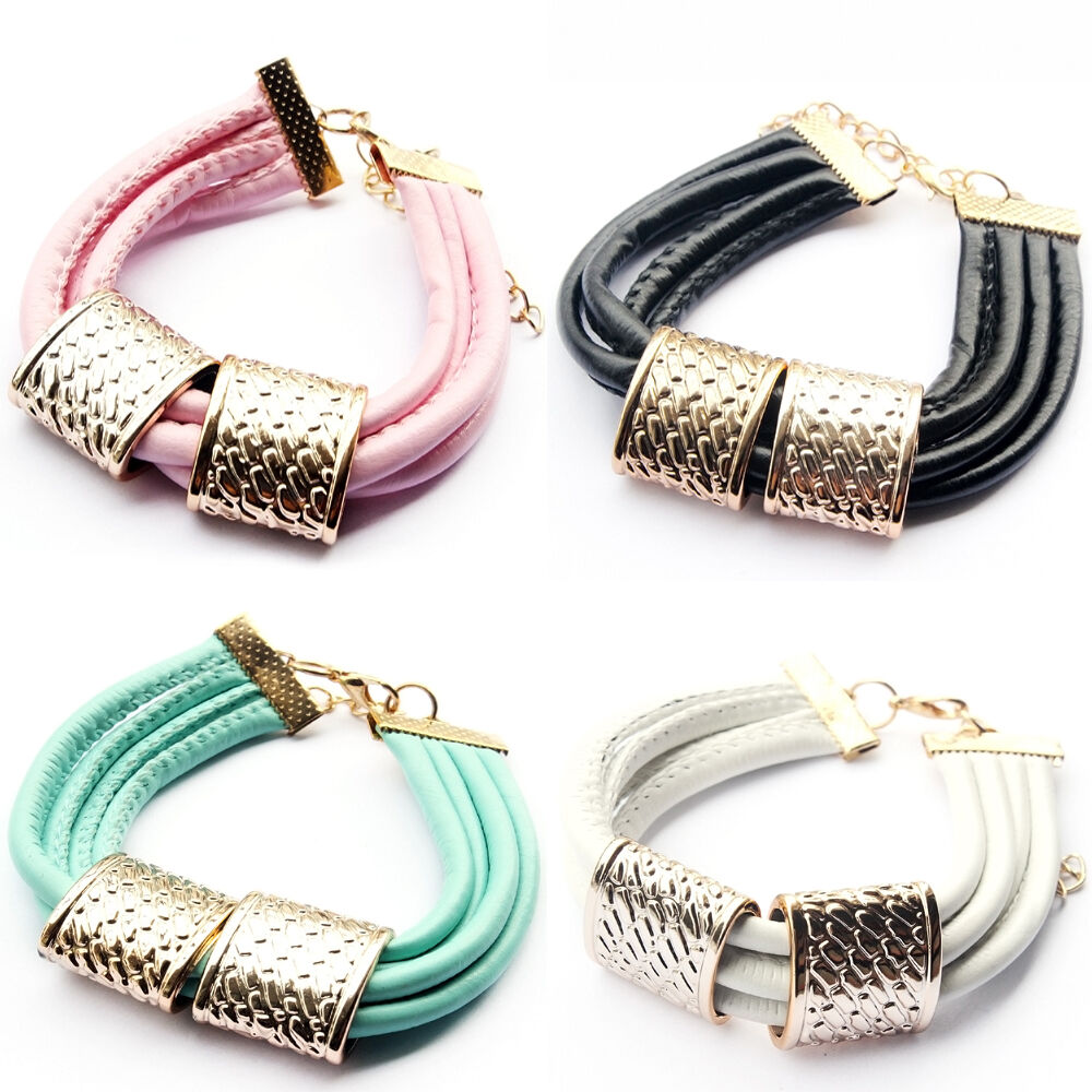 Newest Fashion jewelry Wholesale Leather Gold Plated Women ...