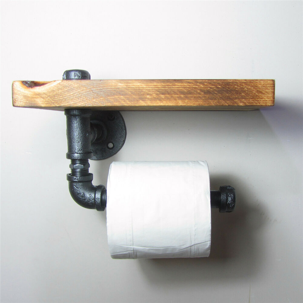 Industrial urban rustic iron pipe toilet paper holder Wood toilet paper holders