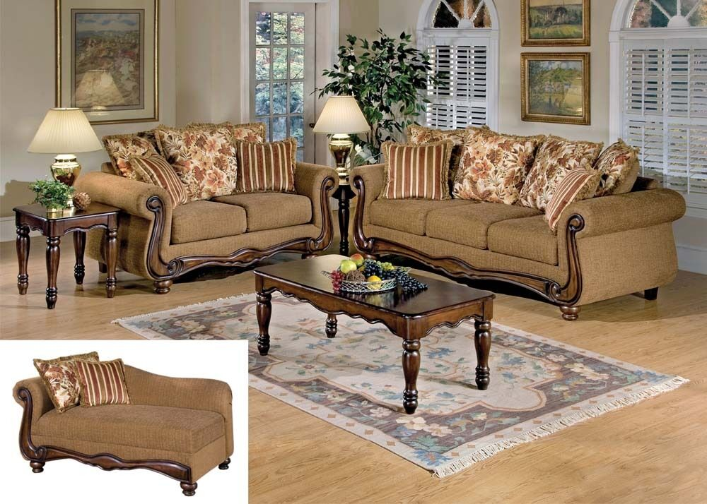 Olysseus Fabric Set Sofa Loveseat Chaise Brown Floral Pillows Living Room Ebay