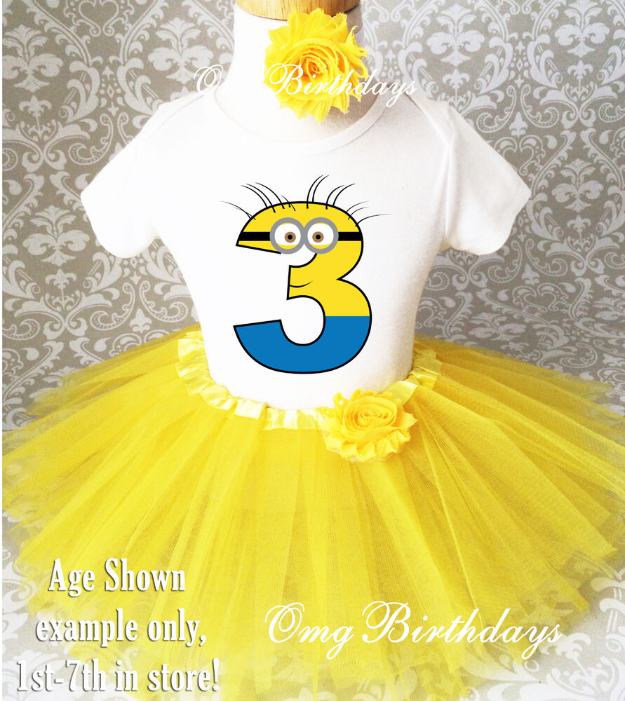 Yellow Minion Girl 3rd Third Birthday Tutu Outfit Set Shirt Party