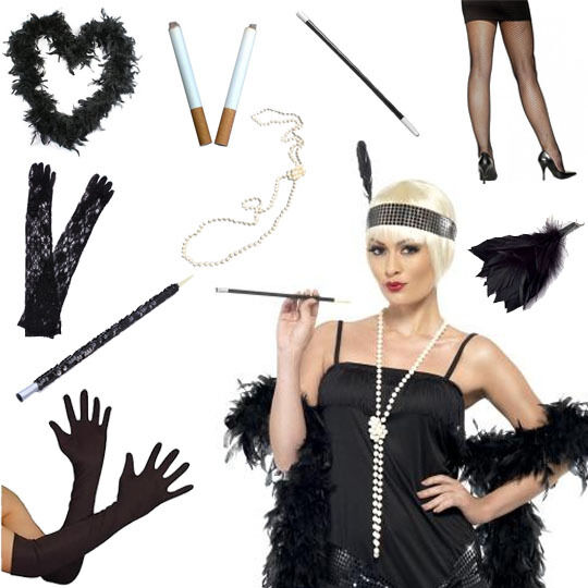 FLAPPER CHARLESTON BLACK 1920S 20S LADIES FANCY DRESS ...