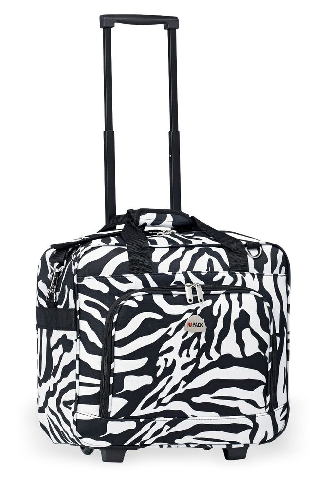 zebra rolling carry on lightweight duffle tote bag luggage suitcase with wheels ebay. Black Bedroom Furniture Sets. Home Design Ideas
