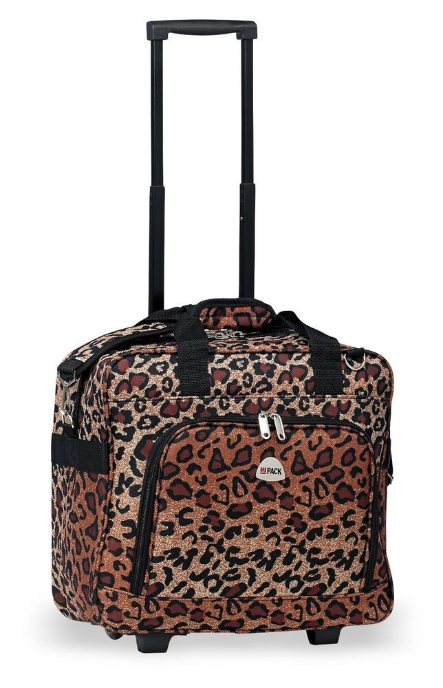 cheetah rolling carry on lightweight duffle tote bag luggage suitcase wheels ebay. Black Bedroom Furniture Sets. Home Design Ideas