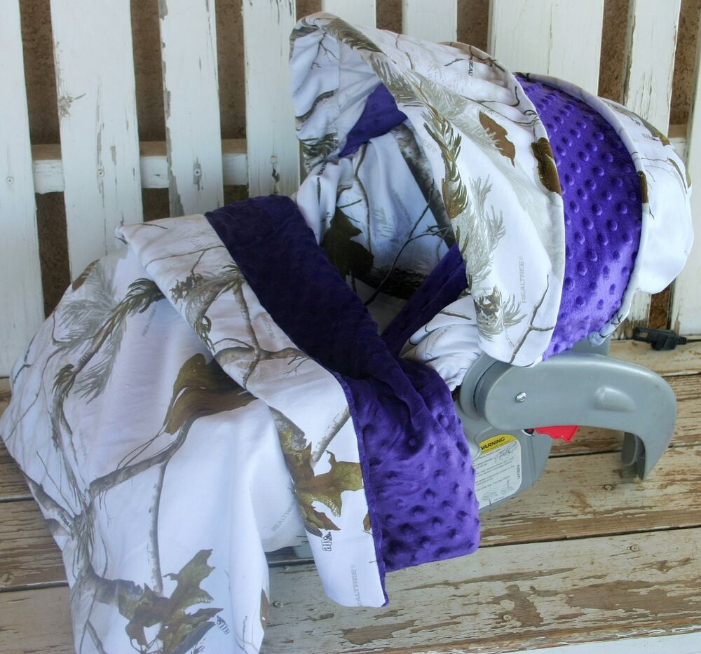 snow realtree w purple minky infant car seat cover and hood cover w blanket ebay. Black Bedroom Furniture Sets. Home Design Ideas