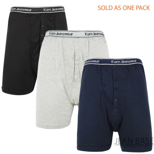 MENS KAM JEANS 3 PACK BUTTON FLY UNDERWEAR BOXER SHORTS TRUNKS BIG KING SIZES