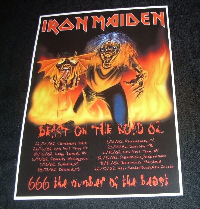 iron maiden concert poster beast on the road tour 39 82 a3 size repro ebay. Black Bedroom Furniture Sets. Home Design Ideas