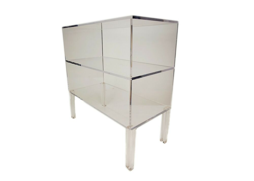 OPEN SHELF LUCITE SIDE or END TABLE, Nightstand, 29